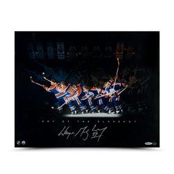 "Wayne Gretzky Signed Oilers ""Art of the Slapshot"" 16x20 Photo (UDA COA)"