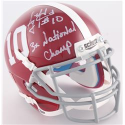 "A.J. McCarron Signed Alabama Crimson Tide Mini-Helmet Inscribed ""3x National Champ"" (Radtke COA)"