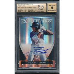 2011 Donruss Elite Extra Edition Prospects #P39 Francisco Lindor Autograph #160/557 (BGS 9.5)