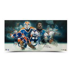 Grant Fuhr Signed LE Oilers 15x30 Collage Photo (UDA COA)
