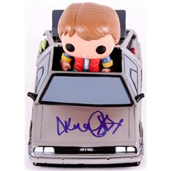 "Michael J. Fox Signed Back To The Future Time Machine With ""Marty McFly"" Funko Pop Figure (JSA COA)"