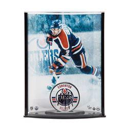 Paul Coffey Signed LE Oilers Hockey Puck with Photo Curve Display (UDA COA)