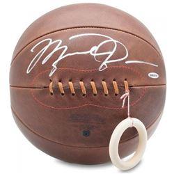 Michael Jordan Signed Naismith Leather Head Basketball (UDA COA)