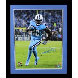 Derrick Henry Signed Titans 23x27 Custom Framed Photo Display (Radtke COA  Henry Hologram)