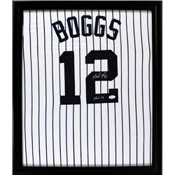 "Wade Boggs Signed Yankees 23x27 Custom Framed Jersey Inscribed ""HOF 05"" (JSA COA)"
