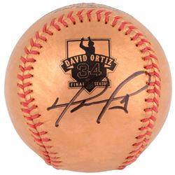 David Ortiz Signed Gold Retirement Baseball (MLB Hologram)