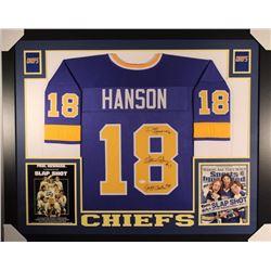 Dave Hanson, Steve Carlson  Jeff Carlson Signed Signed 35x43 Custom Framed Jersey Display (JSA COA)
