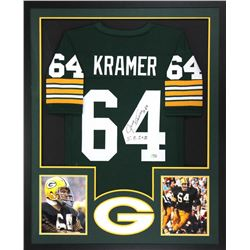 "Jerry Kramer Signed Packers 34x42 Custom Framed Jersey Inscribed ""S.B. I + II"" (Radtke COA)"