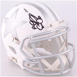 Emmitt Smith Signed Cowboys Custom Matte White ICE Speed Mini Helmet (JSA COA)