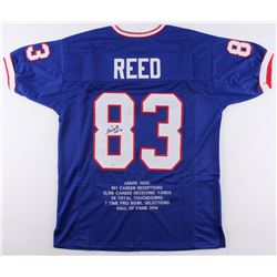 "Andre Reed Signed Bills Career Highlight Stat Jersey Inscribed ""HOF 14"" (SGC COA)"
