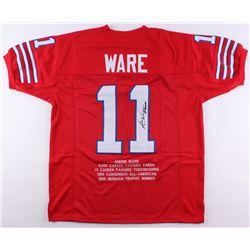 "Andre Ware Signed Houston Cougars Career Highlight Stat Jersey Inscribed ""89 Heisman"" (JSA COA)"
