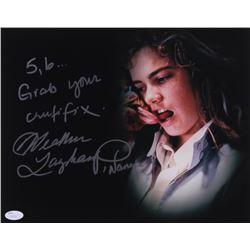 "Heather Langenkamp Signed ""Nightmare on Elm Street"" 11x14 Photo Inscribed ""5,6 Grab Your Crucifix"""