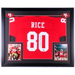 Jerry Rice Signed 49ers 35.5x43.5 Custom Framed Jersey Display (Tristar COA)