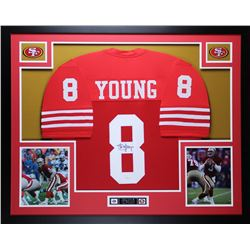 "Steve Young Signed 49ers 35"" x 43"" Custom Framed Jersey (JSA COA)"