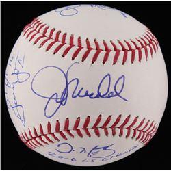"Baseball Signed by (7) With Joe Maddon, Dave Martinez, John Mallee, Gary Jones Inscibed ""2016 WS Cha"