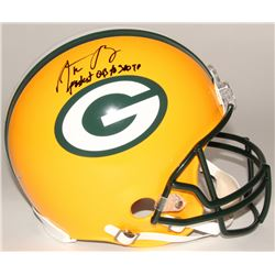 """Aaron Rodgers Signed Packers Full-Size Authentic On-Field Helmet Inscribed """"Fastest QB to 300 TD"""" (S"""