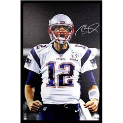 Tom Brady Signed Patriots 24x36 Custom Framed Photo on Canvas (TriStar Hologram)