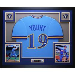 "Robin Yount Signed Brewers 35"" x 43"" Custom Framed Jersey Inscribed ""HOF 99"" (JSA COA)"