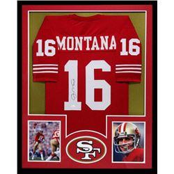 Joe Montana Signed 49ers 34x42 Custom Framed Jersey (JSA COA)
