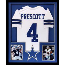 Dak Prescott Signed Cowboys 34x42 Custom Framed Jersey (JSA COA)