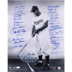 Jackie Robinson Dodgers LE 16x20 Photo Signed by (29) With Tom Seaver, Andre Dawson, Pete Rose, Darr