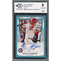 2011 Bowman Prospects Blue #BP1B Bryce Harper AU (BCCG 9)