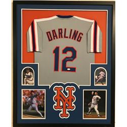 Ron Darling Signed Mets 34x42 Custom Framed Jersey Display (JSA COA)