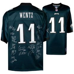 Philadelphia Eagles Jersey Signed by (20) with Carson Wentz, Nick Foles, Fletcher Cox, Chris Long, J