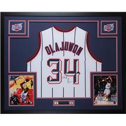 Hakeem Olajuwon Signed Rockets 35x43 Custom Framed Jersey Display (JSA COA)
