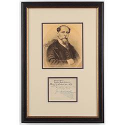 "Charles Dickens Signed 10.5x15.5 Custom Framed Cut Display Inscribed ""Thursday Tenth November. 1859"""