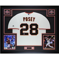 "Buster Posey Signed Giants 35"" x 43"" Custom Framed Jersey (PSA COA)"