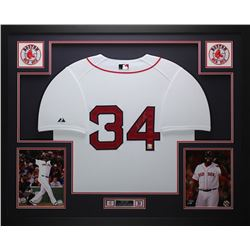 "David Ortiz Signed Red Sox 35"" x 43"" Custom Framed Jersey (Fanatics)"