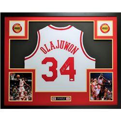 """Hakeem Olajuwon Signed Rockets 35""""x43"""" Custom Framed Jersey (JSA COA)"""
