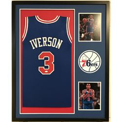 Allen Iverson Signed 76ers 34x42 Custom Framed Jersey Display (JSA COA)