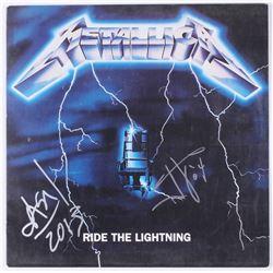 James Hetfield  Jason Newsted Signed Metallica  Ride the Lightning  Vinyl Record Album Inscribed  '0