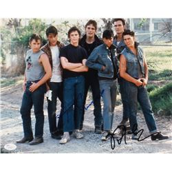 "C. Thomas Howell  Rob Lowe Signed ""The Outsiders"" 11x14 Movie Poster (JSA COA)"