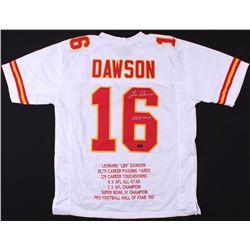 "Len Dawson Signed Chiefs Career Highlight Stat Jersey Inscribed ""SB IV MVP"" (Radtke COA)"