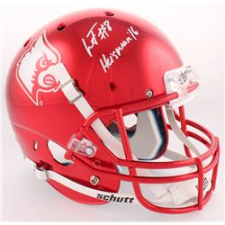 "Lamar Jackson Signed Louisville Full-Size Red Chrome Helmet Inscribed ""Heisman '16"" (Radtke COA)"