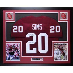 "Billy Sims Signed Oklahoma Sooners 35"" x 43"" Custom Framed Jersey Inscribed ""78 Heisman"" (JSA COA)"