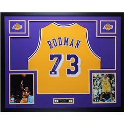 Dennis Rodman Signed Lakers 35x43 Custom Framed Jersey (JSA COA)