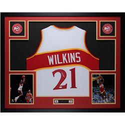 Dominique Wilkins Signed Hawks 35x43 Custom Framed Jersey (JSA COA)