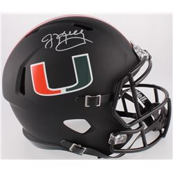 Jim Kelly Signed Miami Hurricanes Custom Matte Black Full-Size Speed Helmet (JSA COA)