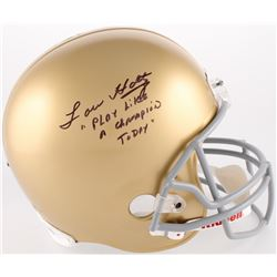 "Lou Holtz Signed Notre Dame Fighting Irish Full-Size Helmet Inscribed ""Play Like A Champion Today"" ("