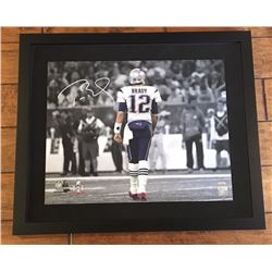 "Tom Brady Signed ""Super Bowl 51 Walk Off"" 16x20 Custom Framed Photo Display (TriStar)"