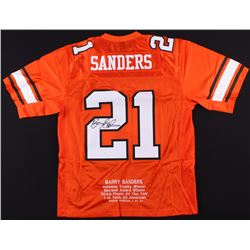 Barry Sanders Signed Oklahoma State Cowboys 1988 SeaWorld Holiday Bowl Career Stat Jersey (JSA COA)