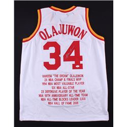 Hakeem Olajuwon Signed Rockets Career Highlight Stat Jersey (JSA COA)