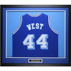 Jerry West Signed Lakers 35x43 Custom Framed Throwback Jersey (JSA COA)