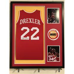 Clyde Drexler Signed Rockets 34x42 Custom Framed Jersey Display (JSA COA)