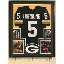 Paul Hornung Signed Packers 34x42 Custom Framed Jersey Display (JSA COA)