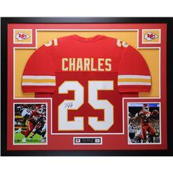 Jamaal Charles Signed Chiefs 35x43 Custom Framed Jersey (JSA COA)